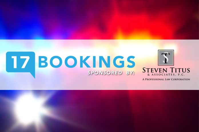 Criminal Bookings graphic featuring police lights in background and sponsor, Steven Titus & Assoc. PC, logo alongside County 17 logo