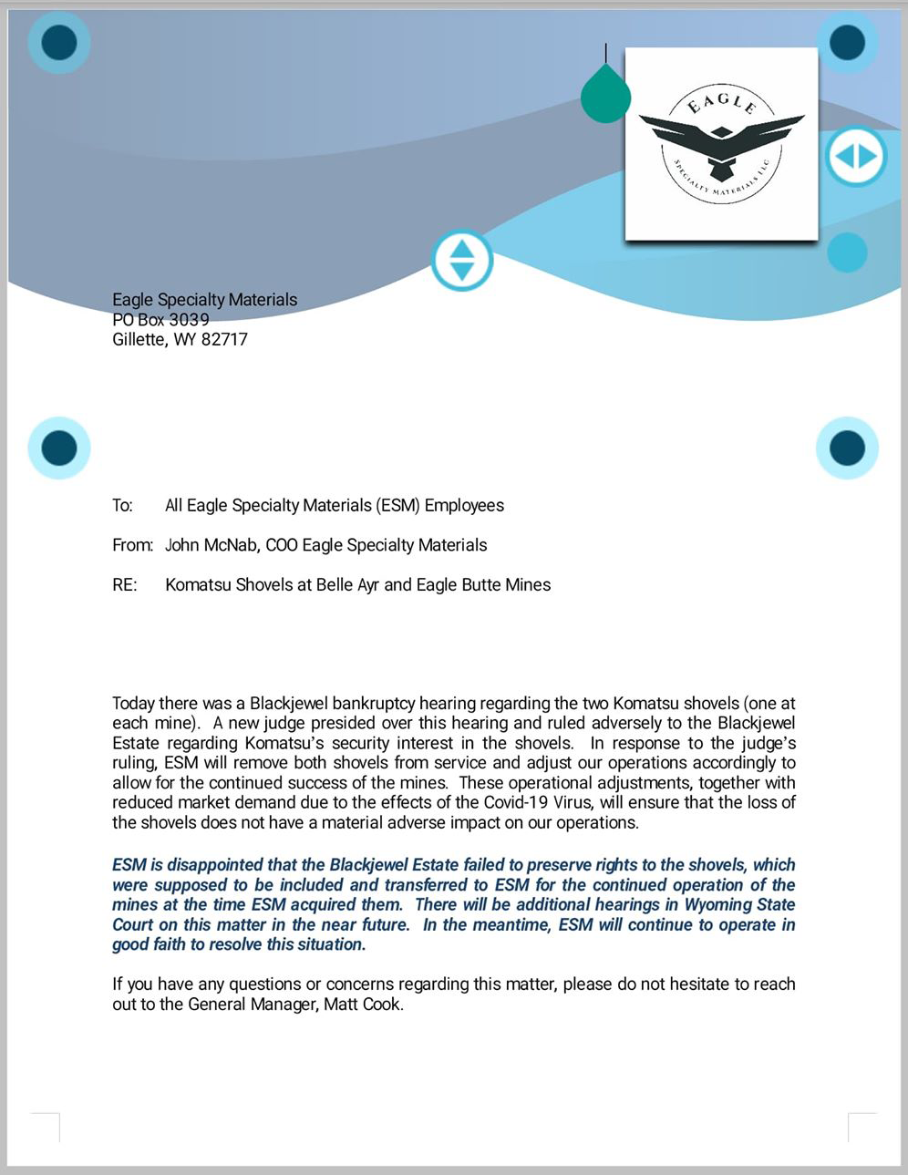 Eagle Specialty Materials Letter Regarding Komatsu Shovels