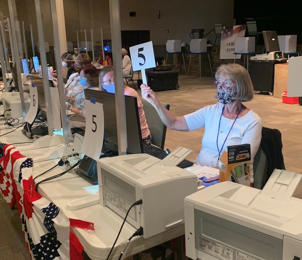 """The Restoration Church in Casper served as one of at least two """"consolidated polling centers"""" in Natrona County for the primary election on Aug. 18, 2020. (Dustin Bleizeffer/WyoFile)"""
