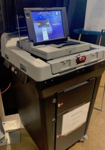 Wyoming's primary election marked the launch of new voting machines, purchased from Election Systems & Software. One is seen here at the Natrona County Fairgrounds polling center. (Dustin Bleizeffer/WyoFile)