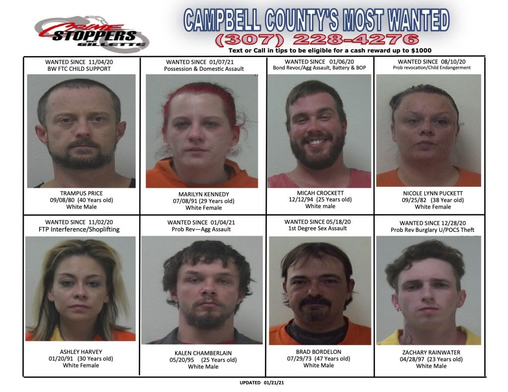 Campbell County's Most Wanted for for Jan. 21, 2020.