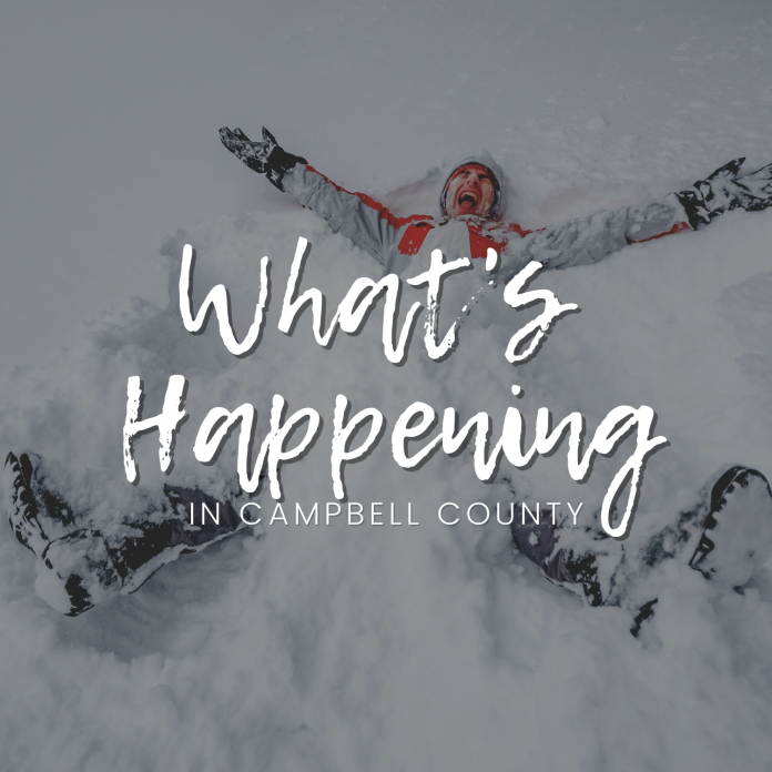 An image that says What's Happening in Campbell County. In the background is an image of a man making a snow angel with a smile on his face.