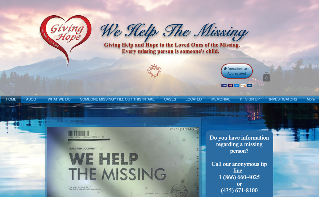 We Help the Missing is a non-profit run solely by volunteers dedicated to the cause.