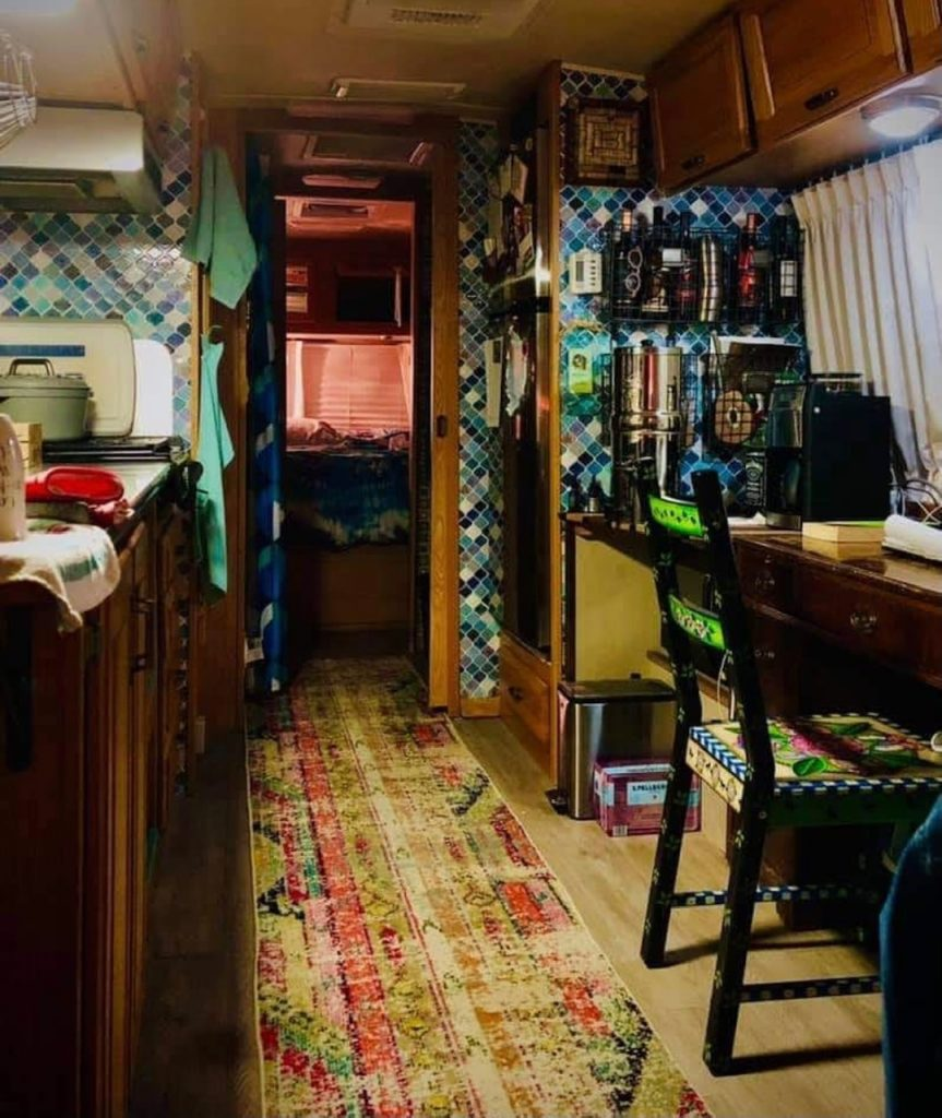 The 30-foot Airstream trailer has been retrofit with real furniture for a homey effect.